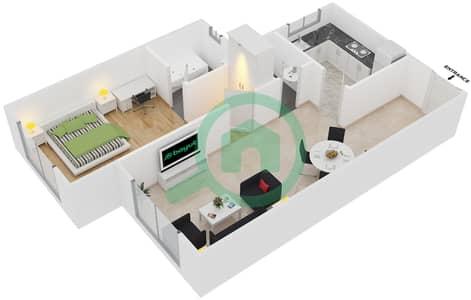 Point Residencia - 1 Bedroom Apartment Unit 1 Floor plan