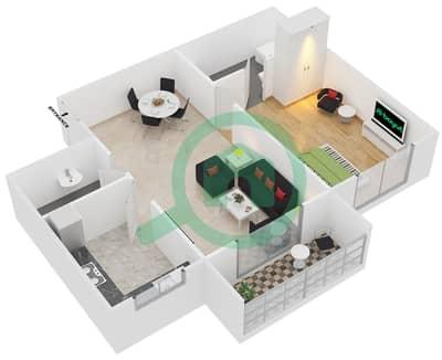 Point Residencia - 1 Bedroom Apartment Unit 1,18 Floor plan