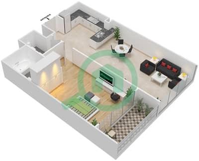 المخططات الطابقية لتصميم الوحدة 12 شقة 1 غرفة نوم - برج 108