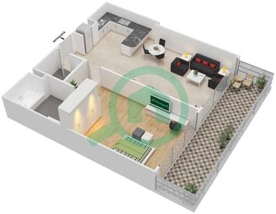 المخططات الطابقية لتصميم الوحدة 11 شقة 1 غرفة نوم - برج 108