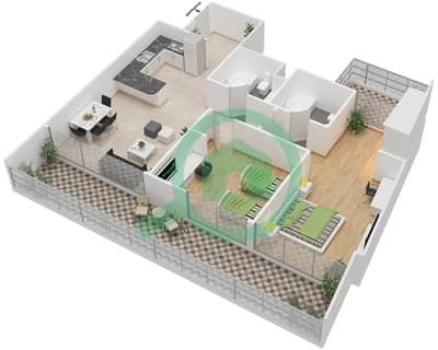 المخططات الطابقية لتصميم الوحدة 10 شقة 2 غرفة نوم - برج 108