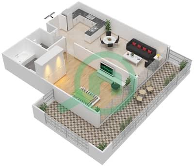 المخططات الطابقية لتصميم الوحدة 9 شقة 1 غرفة نوم - برج 108