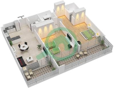 المخططات الطابقية لتصميم الوحدة 9 شقة 2 غرفة نوم - برج 108
