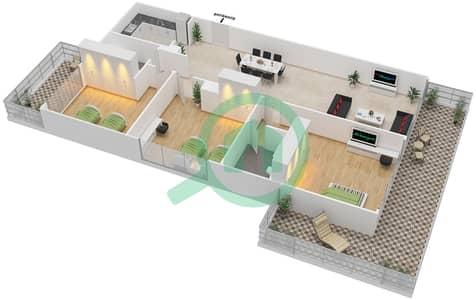 المخططات الطابقية لتصميم الوحدة 9 شقة 3 غرف نوم - برج 108