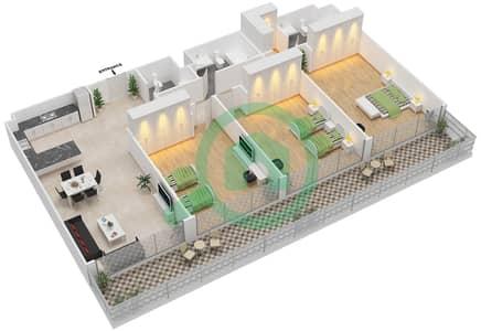 المخططات الطابقية لتصميم الوحدة 8 شقة 3 غرف نوم - برج 108