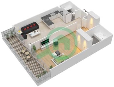 المخططات الطابقية لتصميم الوحدة 8 شقة 1 غرفة نوم - برج 108