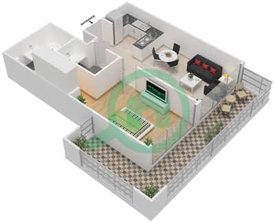 المخططات الطابقية لتصميم الوحدة 7 شقة 1 غرفة نوم - برج 108