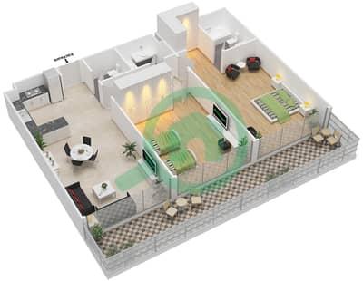 المخططات الطابقية لتصميم الوحدة 7 شقة 2 غرفة نوم - برج 108