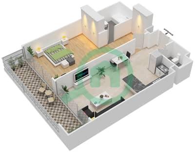 المخططات الطابقية لتصميم الوحدة 7 FLOOR 24-28 شقة 1 غرفة نوم - برج 108