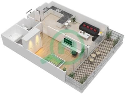 المخططات الطابقية لتصميم الوحدة 7 FLOOR 30-31 شقة 1 غرفة نوم - برج 108