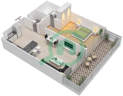 المخططات الطابقية لتصميم الوحدة 6 شقة 1 غرفة نوم - برج 108