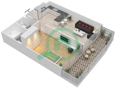 المخططات الطابقية لتصميم الوحدة 5 FLOOR 30-31 شقة 1 غرفة نوم - برج 108
