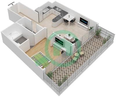 المخططات الطابقية لتصميم الوحدة 3 شقة 1 غرفة نوم - برج 108
