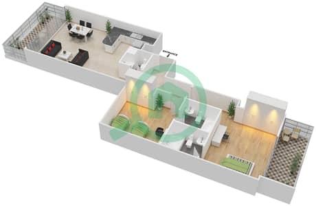 المخططات الطابقية لتصميم الوحدة 3 شقة 2 غرفة نوم - برج 108