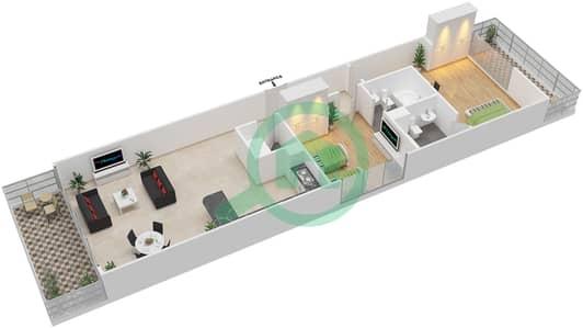 المخططات الطابقية لتصميم الوحدة 2 شقة 2 غرفة نوم - برج 108