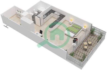 المخططات الطابقية لتصميم الوحدة 1 شقة  - برج 108