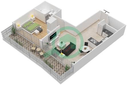 المخططات الطابقية لتصميم الوحدة 1 شقة 1 غرفة نوم - برج 108