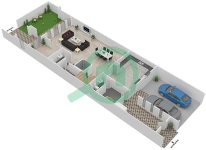 المخططات الطابقية لتصميم الوحدة D تاون هاوس 4 غرف نوم - قصر مالبيري
