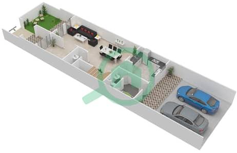 المخططات الطابقية لتصميم الوحدة B تاون هاوس 4 غرف نوم - قصر مالبيري