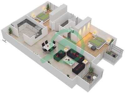 المخططات الطابقية لتصميم النموذج 3 شقة 2 غرفة نوم - ميلانو جيوفاني بوتيك سوتس