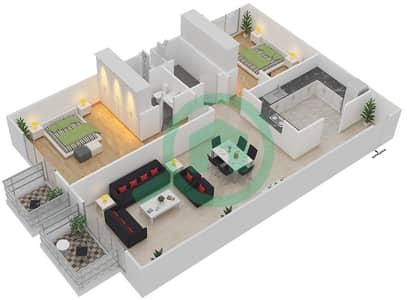 المخططات الطابقية لتصميم النموذج 2 شقة 2 غرفة نوم - ميلانو جيوفاني بوتيك سوتس