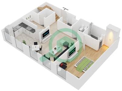 المخططات الطابقية لتصميم الوحدة D5 شقة 3 غرف نوم - مساكن أستوريا