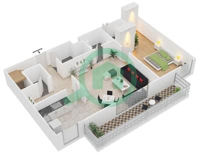 المخططات الطابقية لتصميم الوحدة D4 شقة 3 غرف نوم - مساكن أستوريا