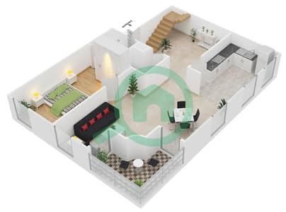 المخططات الطابقية لتصميم الوحدة D2 شقة 3 غرف نوم - مساكن أستوريا
