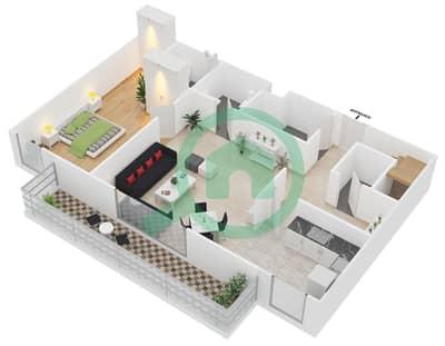 المخططات الطابقية لتصميم الوحدة D1 شقة 3 غرف نوم - مساكن أستوريا