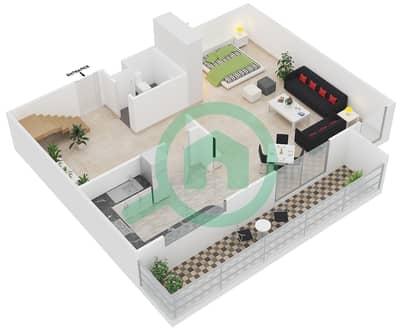 المخططات الطابقية لتصميم الوحدة C شقة 2 غرفة نوم - مساكن أستوريا