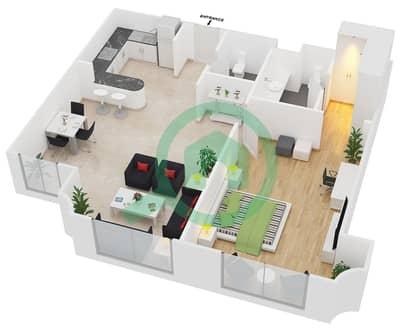 المخططات الطابقية لتصميم الوحدة B7 شقة 1 غرفة نوم - مساكن أستوريا
