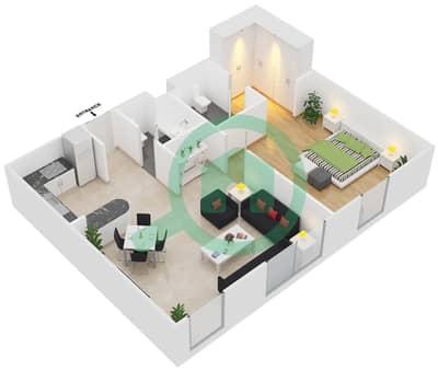 المخططات الطابقية لتصميم الوحدة B6 شقة 1 غرفة نوم - مساكن أستوريا
