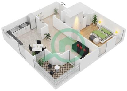 المخططات الطابقية لتصميم الوحدة B5 شقة 1 غرفة نوم - مساكن أستوريا