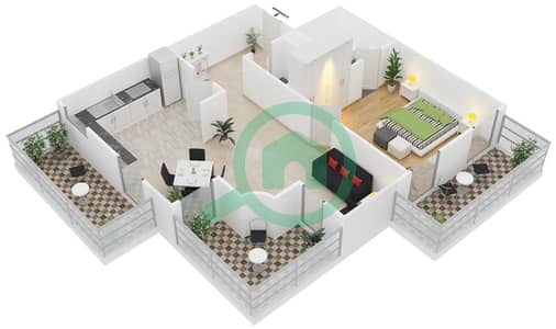 المخططات الطابقية لتصميم الوحدة B4 شقة 1 غرفة نوم - مساكن أستوريا