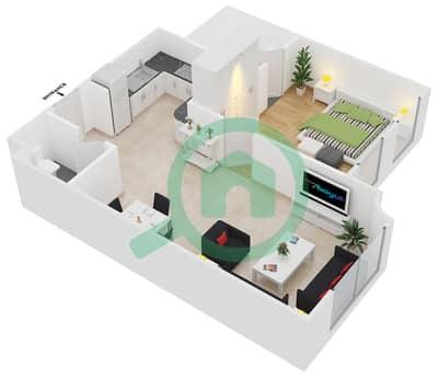 المخططات الطابقية لتصميم الوحدة B3 شقة 1 غرفة نوم - مساكن أستوريا