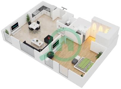 المخططات الطابقية لتصميم الوحدة B2 شقة 1 غرفة نوم - مساكن أستوريا