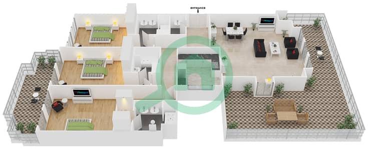 المخططات الطابقية لتصميم الوحدة B-403 شقة 3 غرف نوم - لي جراند شاتو