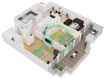 المخططات الطابقية لتصميم الوحدة B-106 شقة 2 غرفة نوم - لي جراند شاتو