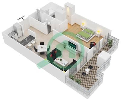 المخططات الطابقية لتصميم الوحدة B-101 شقة 1 غرفة نوم - لي جراند شاتو