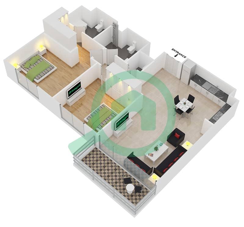 Floor plans for Unit 8 FLOOR 18-30 2-bedroom Apartments in