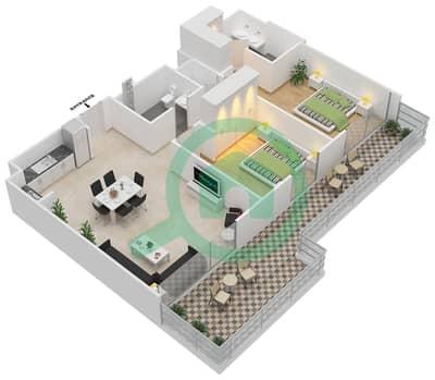 المخططات الطابقية لتصميم الوحدة 2.0.A BLOCK-B,C,D شقة 2 غرفة نوم - بارك بوينت