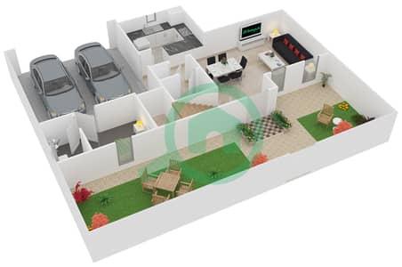 المخططات الطابقية لتصميم الوحدة D تاون هاوس 2 غرفة نوم - فيلانوفا