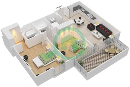 المخططات الطابقية لتصميم النموذج / الوحدة 3B/25 شقة 2 غرفة نوم - شايستا عزيزي