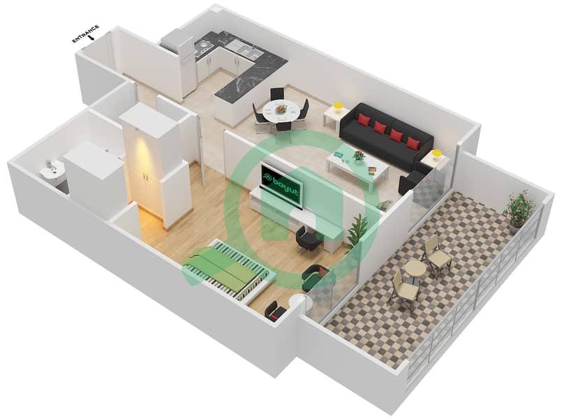 المخططات الطابقية لتصميم النموذج / الوحدة 3B/20 شقة 1 غرفة نوم - شايستا عزيزي Floor 2-11 image3D