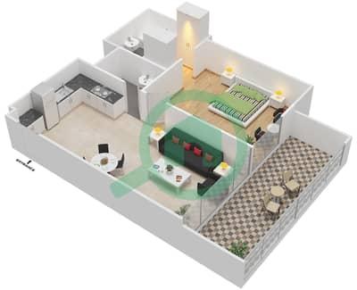 المخططات الطابقية لتصميم النموذج / الوحدة 2B/24 شقة 1 غرفة نوم - شايستا عزيزي