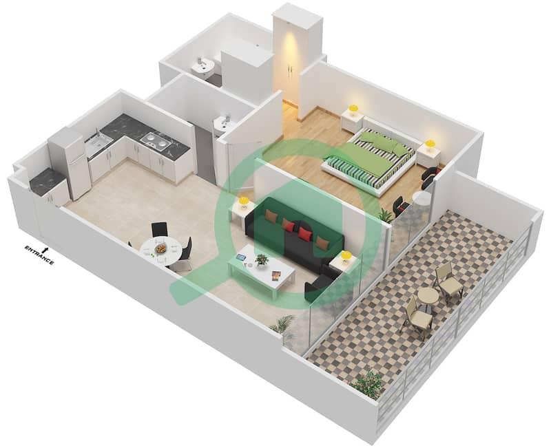 المخططات الطابقية لتصميم النموذج / الوحدة 2B/24 شقة 1 غرفة نوم - شايستا عزيزي Floor 2-5,10-11 image3D