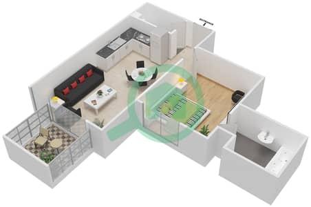 المخططات الطابقية لتصميم النموذج / الوحدة 6B/14 شقة 1 غرفة نوم - شايستا عزيزي