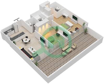 المخططات الطابقية لتصميم النموذج / الوحدة 2A/14 شقة 2 غرفة نوم - شايستا عزيزي