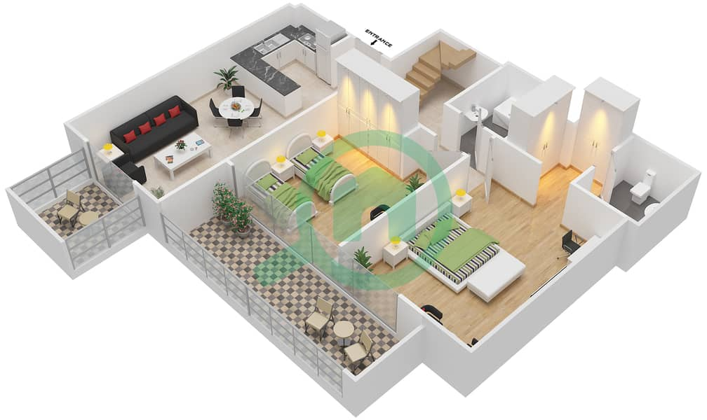 المخططات الطابقية لتصميم النموذج / الوحدة 5B/15 شقة 2 غرفة نوم - شايستا عزيزي Lower Floor-12 Floor image3D