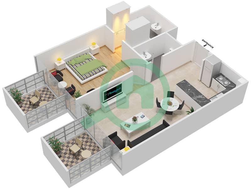 المخططات الطابقية لتصميم النموذج / الوحدة 3B/13 شقة 1 غرفة نوم - شايستا عزيزي Floor 2-11 image3D